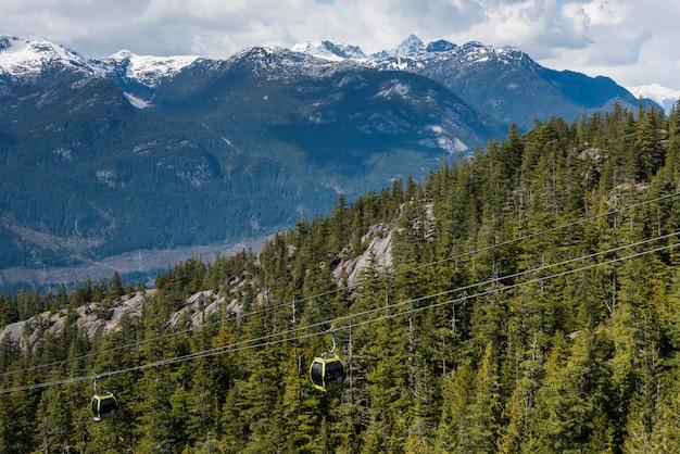 Funivie aeree sopra valle di montagna, costa bc, coast mountains, squamish, british columbia, can
