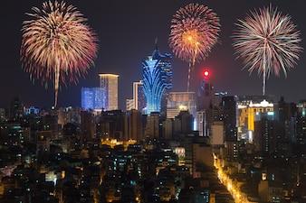Fuochi d'artificio a Macao (Macao), Cina