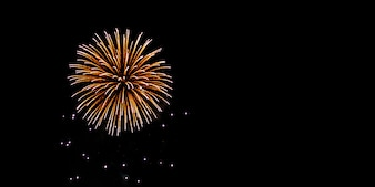 Fuochi d'artificio di anniversario e festival su cielo notturno