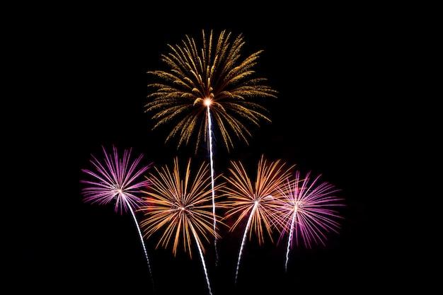 Fuochi d'artificio colorati sopra il cielo scuro