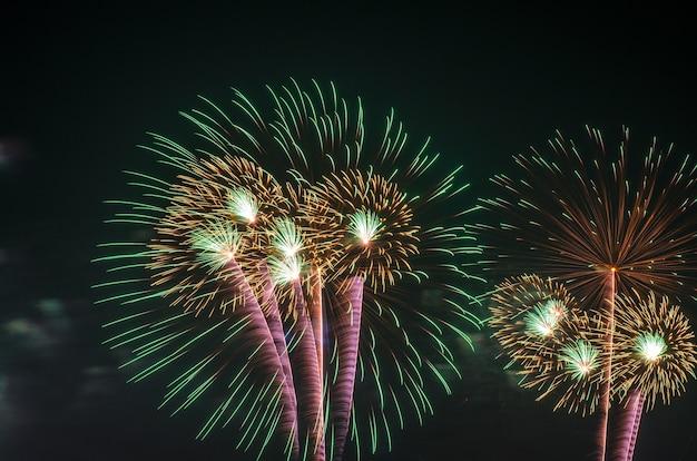 Fuochi d'artificio colorati sullo sfondo del cielo nero over-water