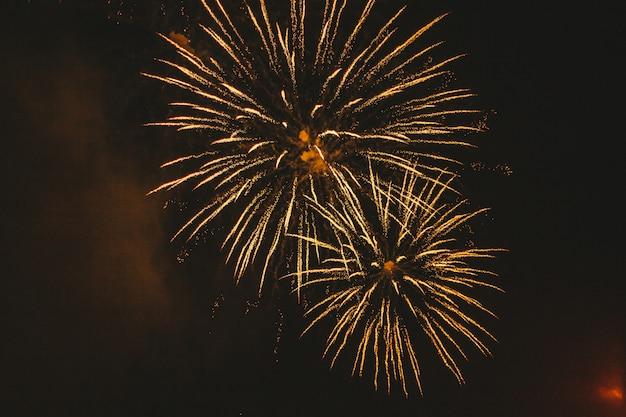 Fuochi d'artificio festivi dell'oro del primo piano sul nero