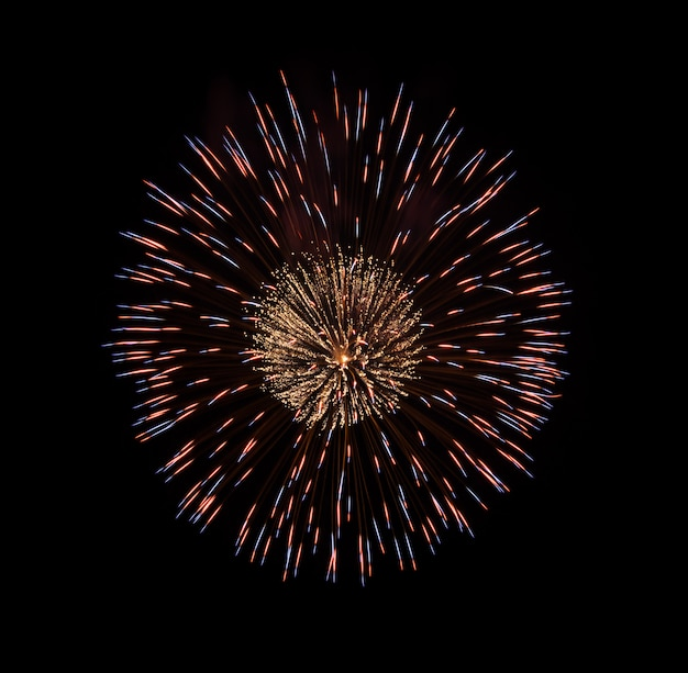 Fuochi d'artificio variopinti isolati sul nero