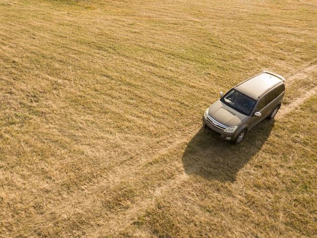 Fuori dall'automobile della strada sulla vista superiore della strada non asfaltata di estate della foresta e del campo
