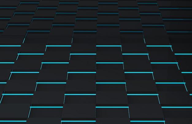 Futuristica griglia quadrata nera con parete a luce blu