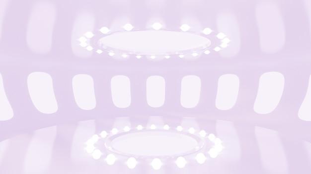 Futuristico interno viola chiaro bianco opaco. rendering 3d.