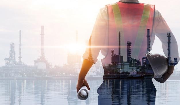 Futuro impianto industriale e concetto dell'industria energetica.