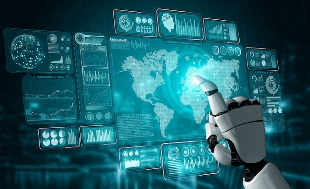 Futuro robot e cyborg di intelligenza artificiale.