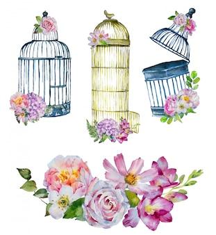 Gabbie per uccelli vintage dipinte a mano ad acquerello con mazzi di fiori.