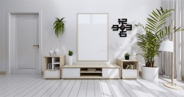 Gabinetto della mensola della tv nella stanza vuota moderna e nella parete bianca
