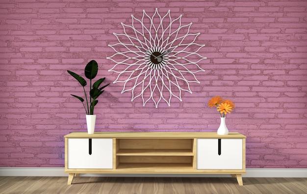 Gabinetto della tv nella stanza vuota del loft moderno rosa, disegni minimi, rappresentazione 3d
