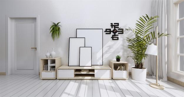 Gabinetto della tv nella stanza vuota moderna e muro bianco stile giapponese.