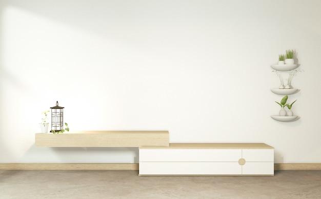 Gabinetto di legno nella stanza vuota tropicale giapponese. rendering 3d