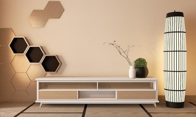 Gabinetto di legno tv con le mattonelle di legno di esagono su stile giapponese della stanza del pavimento della stuoia di tatami e della parete, rappresentazione 3d