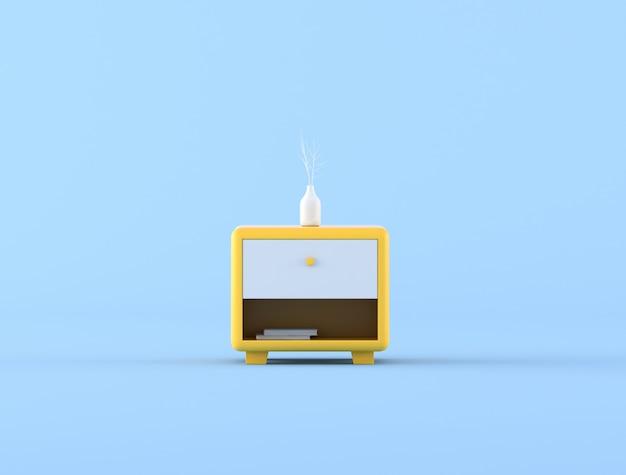 Gabinetto giallo di stile minimo e piccolo vaso bianco su fondo blu