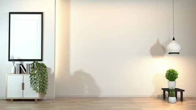 Gabinetto nel moderno salotto zen con decorazione in stile zen sul muro bianco design nascosto luce.