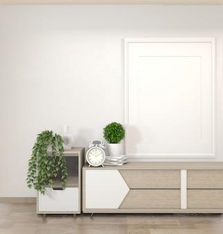 Gabinetto nel salone di zen sulla parete bianca, rendering 3d