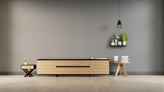 Gabinetto tv del salone nella stanza vuota moderna, disegni minimi, rappresentazione 3d