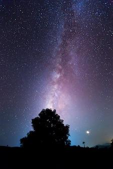 Galassia della via lattea con stelle e polvere spaziale nell'universo