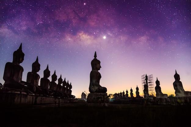 Galassia della via lattea con stile scuro del filtro dalla natura del paesaggio della statura di buddha