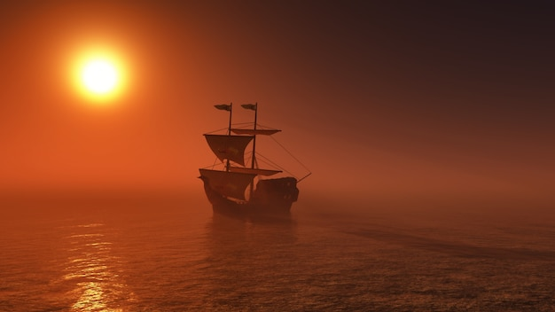 Galeone vela in riva al mare