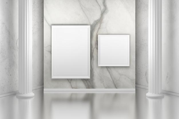 Galleria d'arte con colonne e due immagini