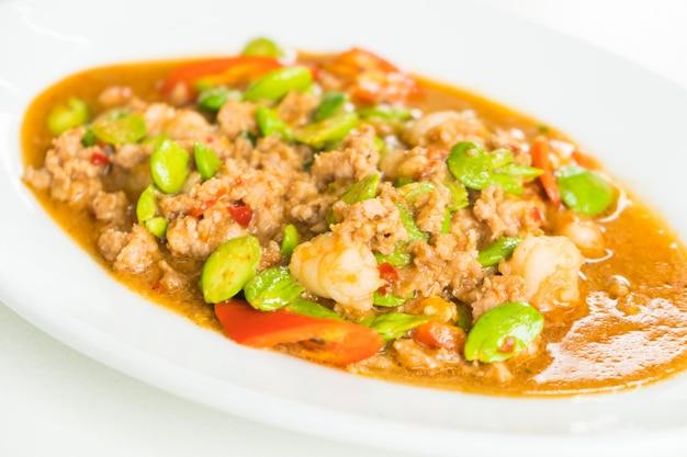 Gamberi fritti con sataw bean