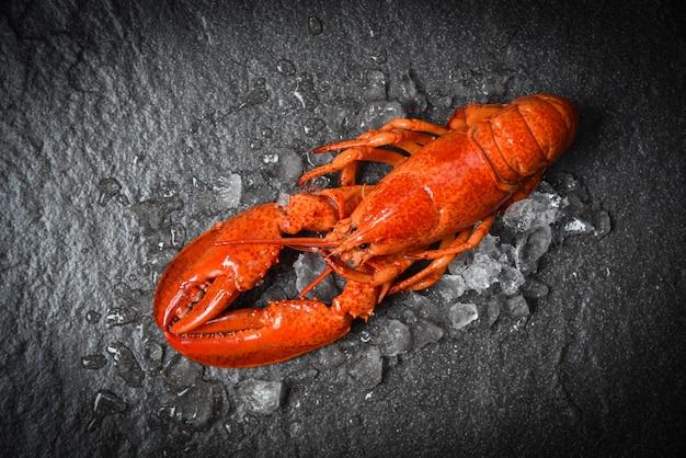 Gambero rosso dei frutti di mare dell'aragosta con la vista superiore del ghiaccio