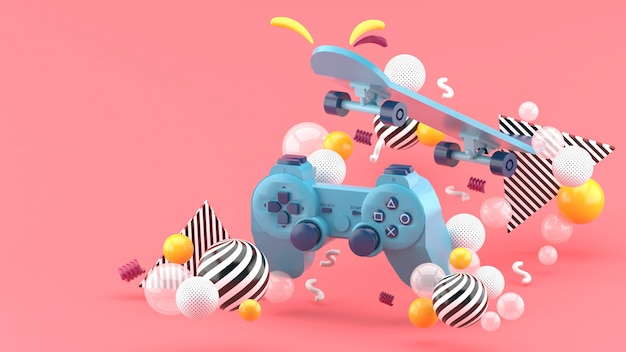 Gamepad blu e skateboard tra palline colorate su rosa. rendering 3d.