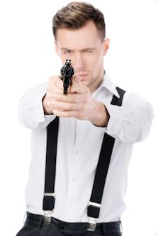Gangster con pistole isolato