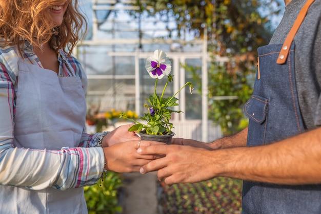 Gardners che lavorano nel garden center
