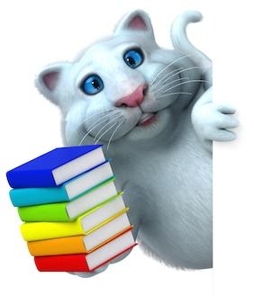 Gatto divertente con i libri