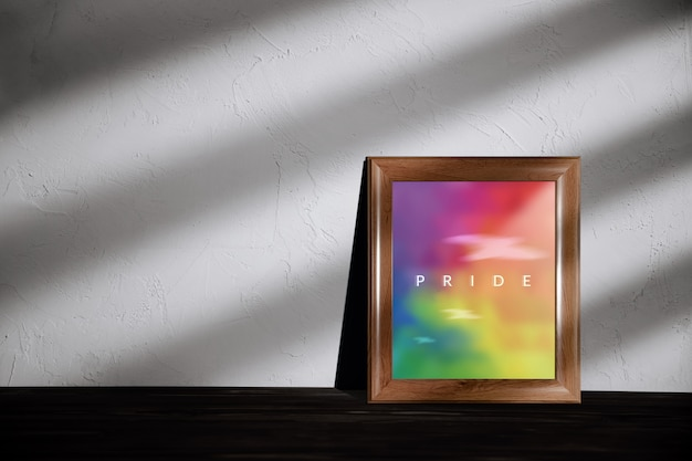 Gay, omosessuale, concetto lgbtqi. foto a colori arcobaleno con pride text in photo lying on the floor in house