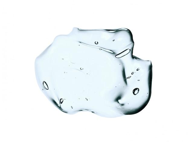 Gel cosmetico blu, striscio di siero viso isolato