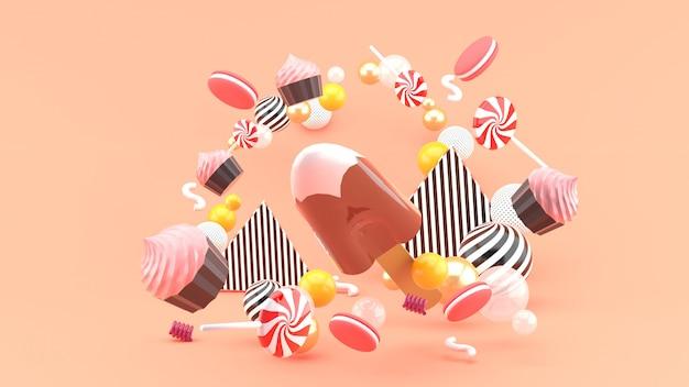 Gelato al cioccolato tra cupcakes, caramelle macaronnd. rendering 3d.