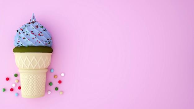 Gelato al tè verde e gelato blu chiaro sormontato da dessert colorati sul rosa