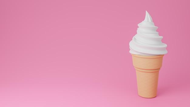 Gelato morbido al gusto di vaniglia o latte su cono croccante