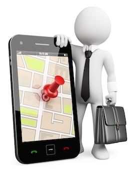 Gente bianca 3d business. telefono cellulare con gps