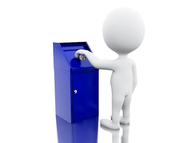 Gente bianca 3d che getta rifiuti.