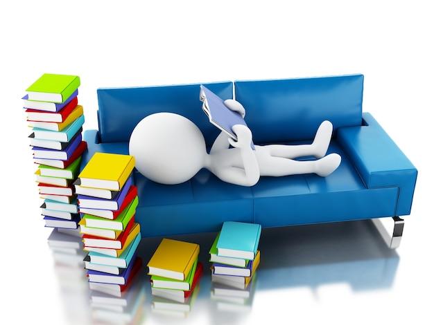Gente bianca 3d che legge un libro su fondo bianco.