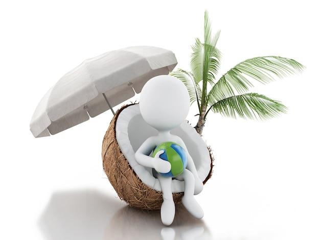 Gente bianca 3d che si siede in una noce di cocco. concetto di vacanza sulla spiaggia
