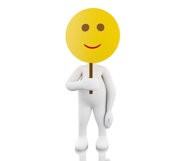 Gente bianca 3d che tiene la maschera di protezione di smiley