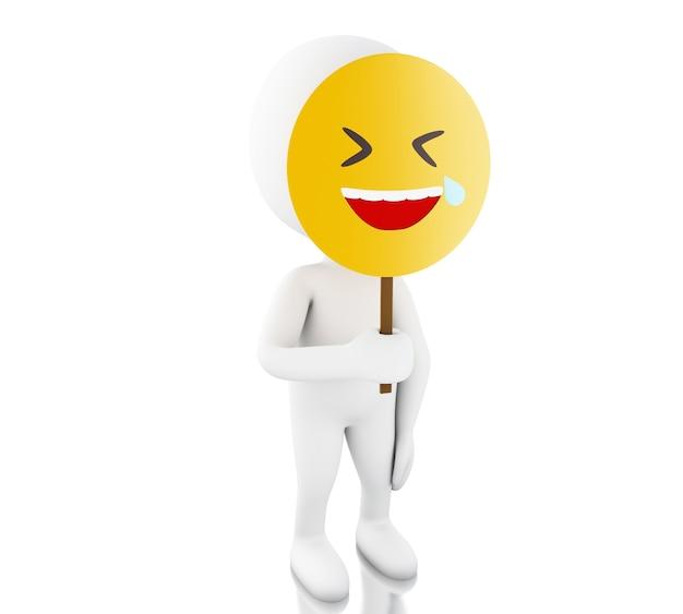 Gente bianca 3d che tiene maschera facciale divertente