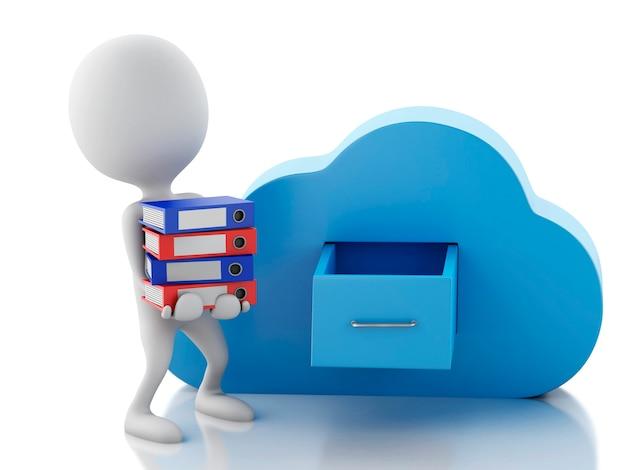 Gente bianca 3d con archiviazione di file e cloud. concetto di cloud computing.