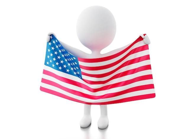 Gente bianca 3d con bandiera usa.