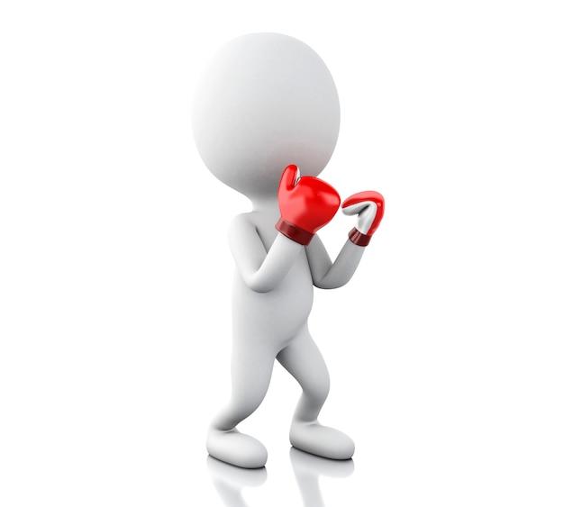 Gente bianca 3d con i guanti di inscatolamento rossi.