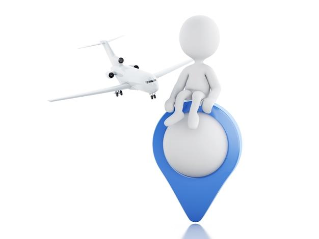 Gente bianca 3d con l'aeroplano e puntatore della mappa