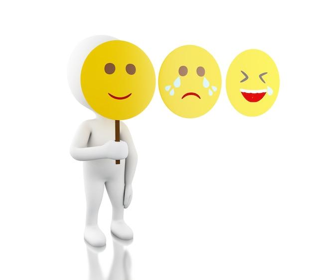 Gente bianca 3d con maschera faccia triste, divertente e sorridente