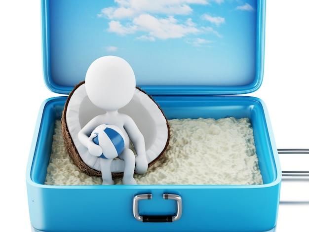 Gente bianca 3d in una valigia di viaggio. vacanza al mare