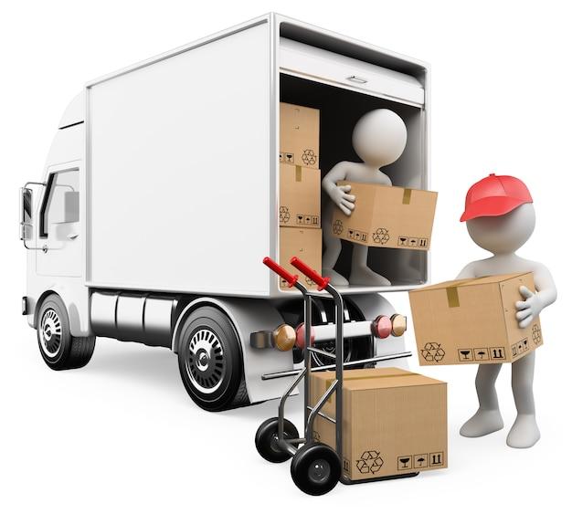 Gente bianca 3d. lavoratori che scaricano le scatole da un camion